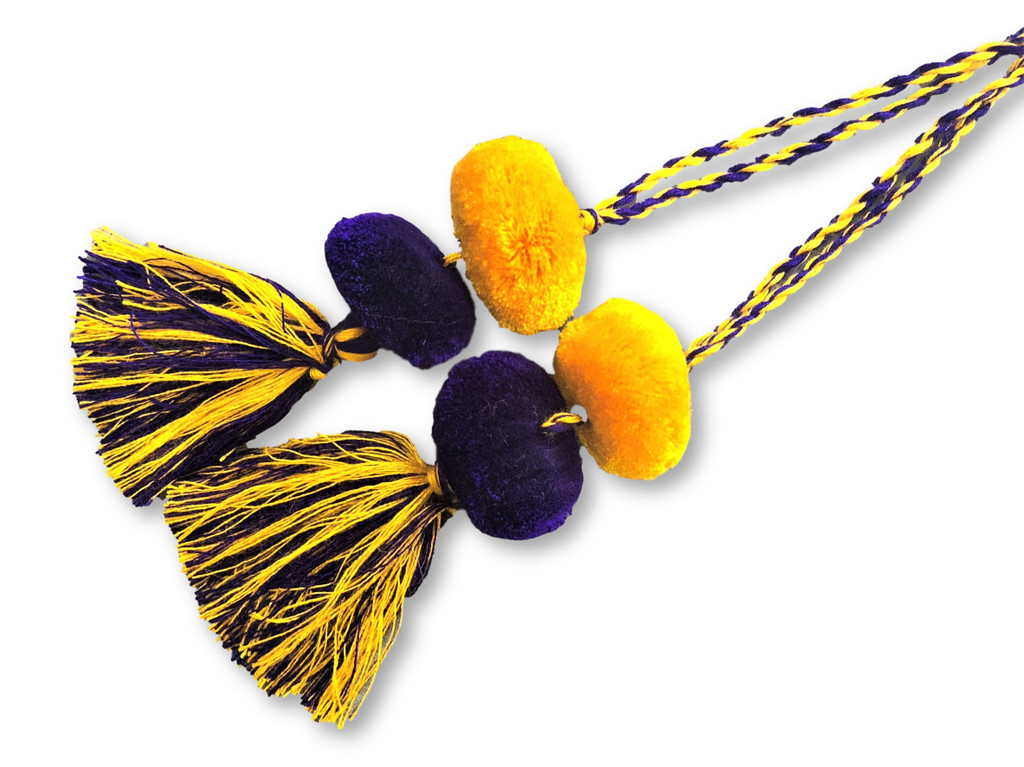 Tassels with Pom Poms, Purple and Yellow Marble Design,Team School Colors, Home Decor, Gift Tag, Decorative Small Handmade Pom Poms, Fair Trade Guatemala