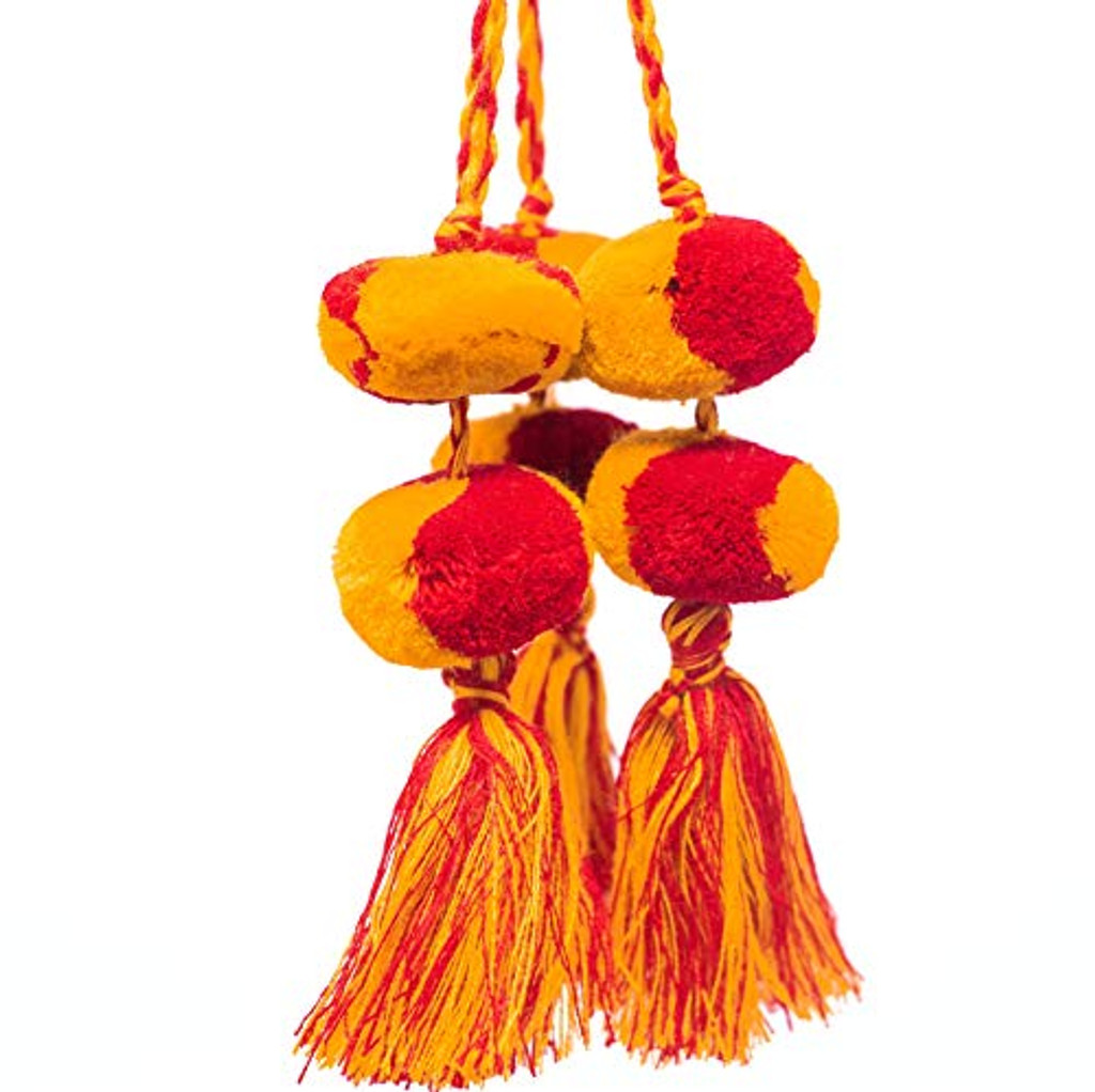 Tassels with Pom Poms, Red and Yellow Marble Design,Team School Colors, Home Decor, Gift Tag, Decorative Small Handmade Pom Poms, Fair Trade Guatemala