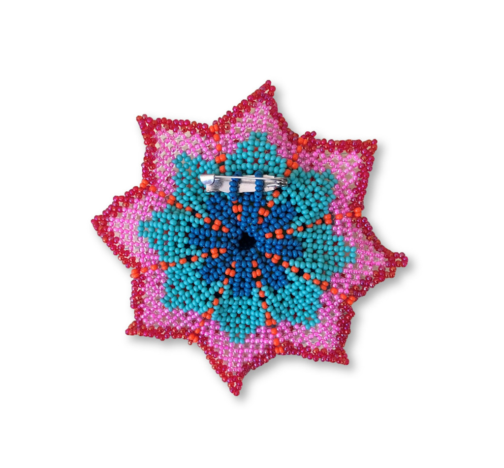 Beaded Flower Brooch Pin, Pink, Green, Blue, and Orange, Handmade Decorative Flowers, Jewelry Accessory, 4 Inches