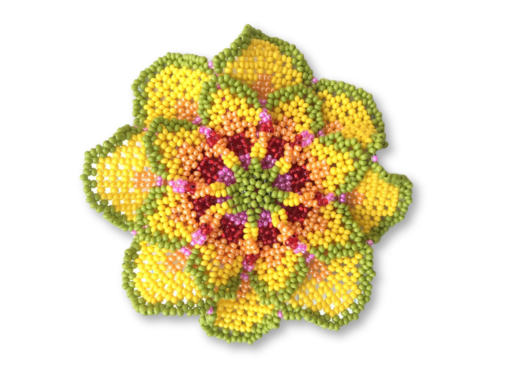 Mayan Arts Beaded Flower Brooch Pin, Green, Yellow, Coral, Red and Pink Handmade Decorative Flowers, Jewelry Accessory, Fair Trade Guatemala, 3.75 Inches