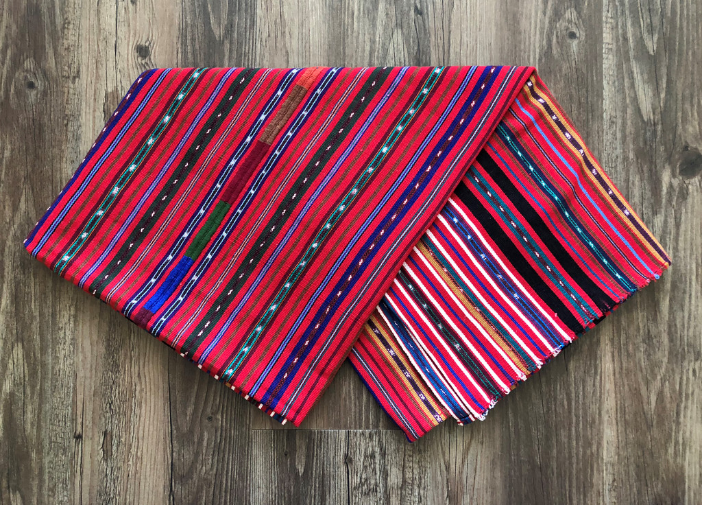 Vintage Solola Tzute Guatemala, Hand Woven Red Tones with Multi Color Stripes, Table Cloth, or Shawl, or Decorative Wall Hanging 37 x 55 Inches