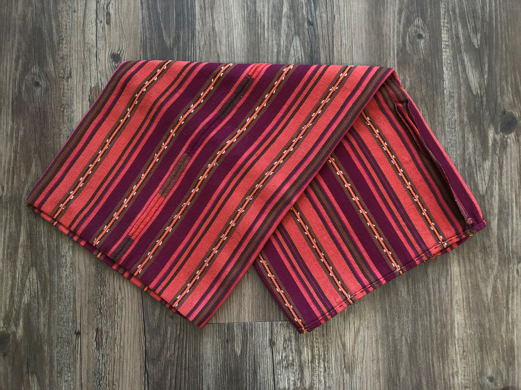 Mayan Arts Vintage Solola Tzute Guatemala, Hand Woven Brown and Orange Tones, Table Cloth, or Shawl, or Decorative Wall Hanging