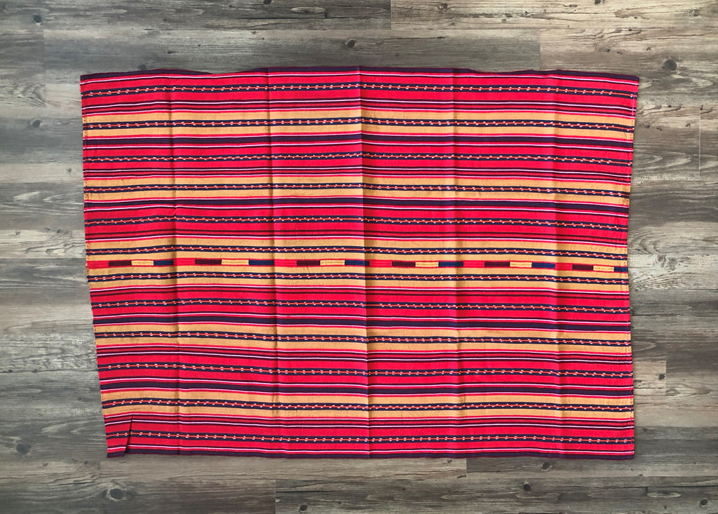 Mayan Arts Vintage Solola Tzute Guatemala, Hand Woven, Red Tones with Navy Stripes, Table Cloth, or Shawl, or Decorative Wall Hanging
