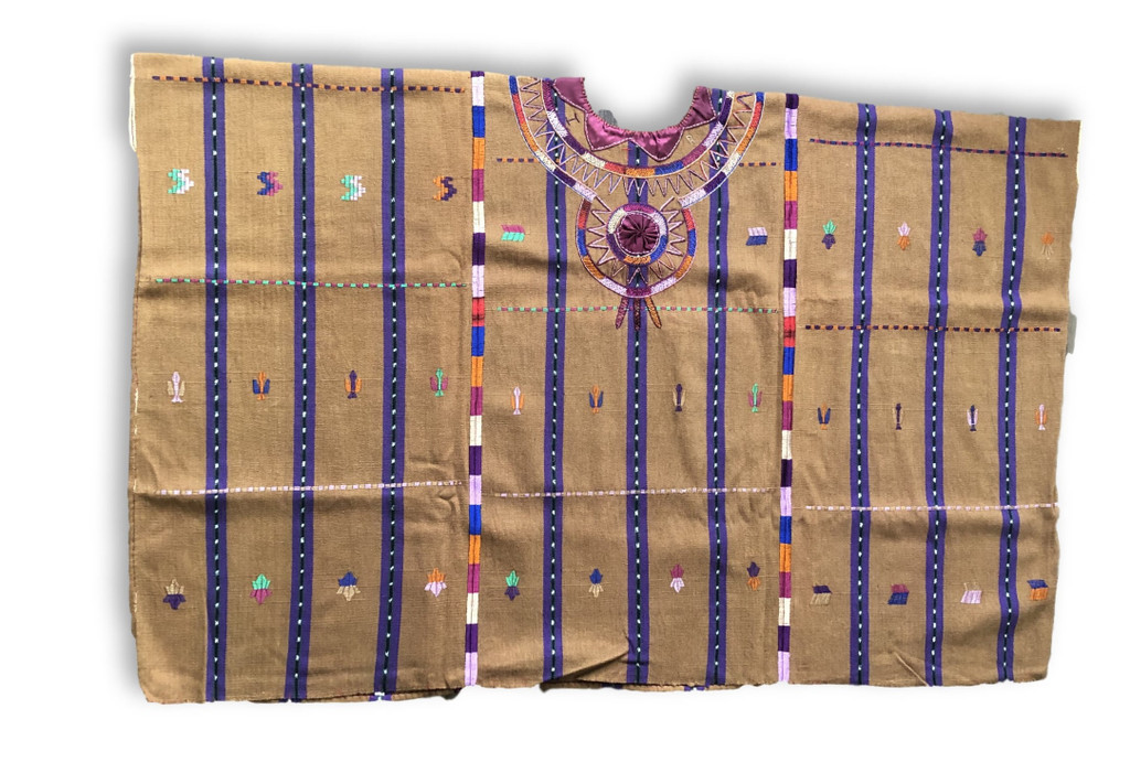 "Vintage Guatemalan Huipil, Solola Tzute Hand Woven Textile, Brown Multi colors with Purple Stripes, Eclectic Wall Hanging 53"" x 33"""