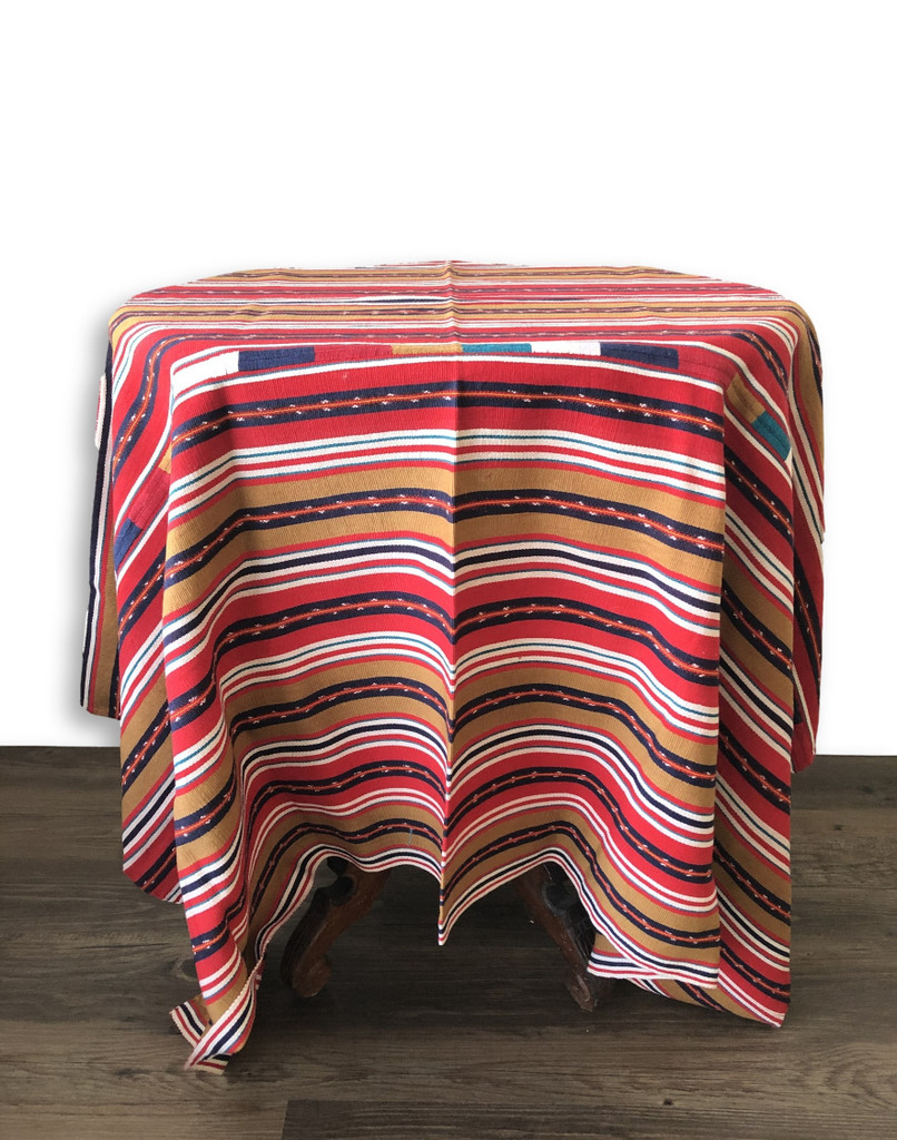 Vintage Solola Tzute Guatemala, Hand Woven, Red Tones and Brown with Multi color Stripes, Table Cover, or Shawl, or Decorative Wall Hanging