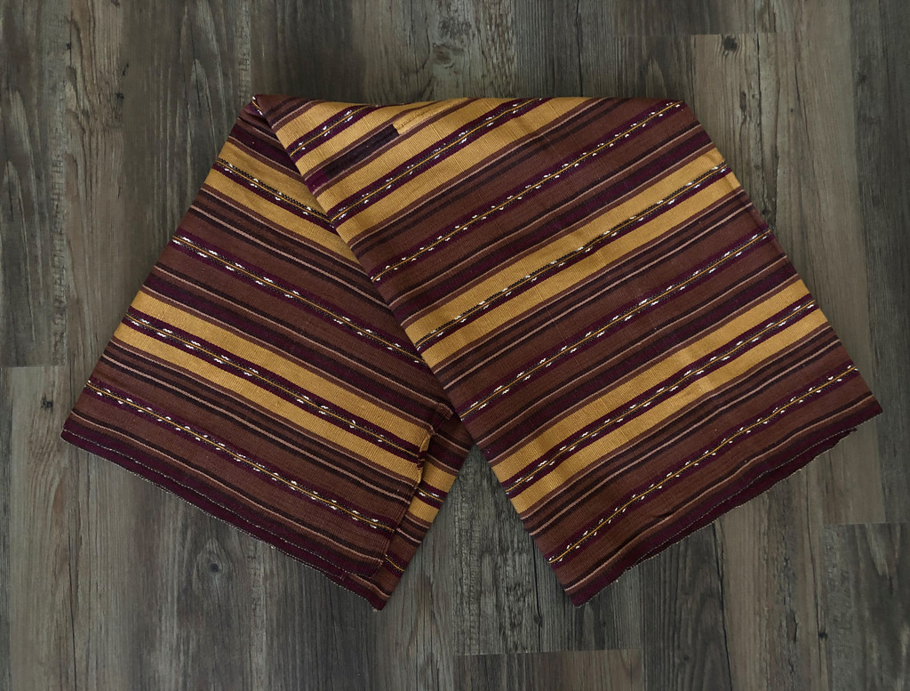 Mayan Arts Vintage Solola Tzute Guatemala, Hand Woven, Brown Tones with Multi Color Stripes, Table Cover, or Shawl, or Decorative Wall Hanging