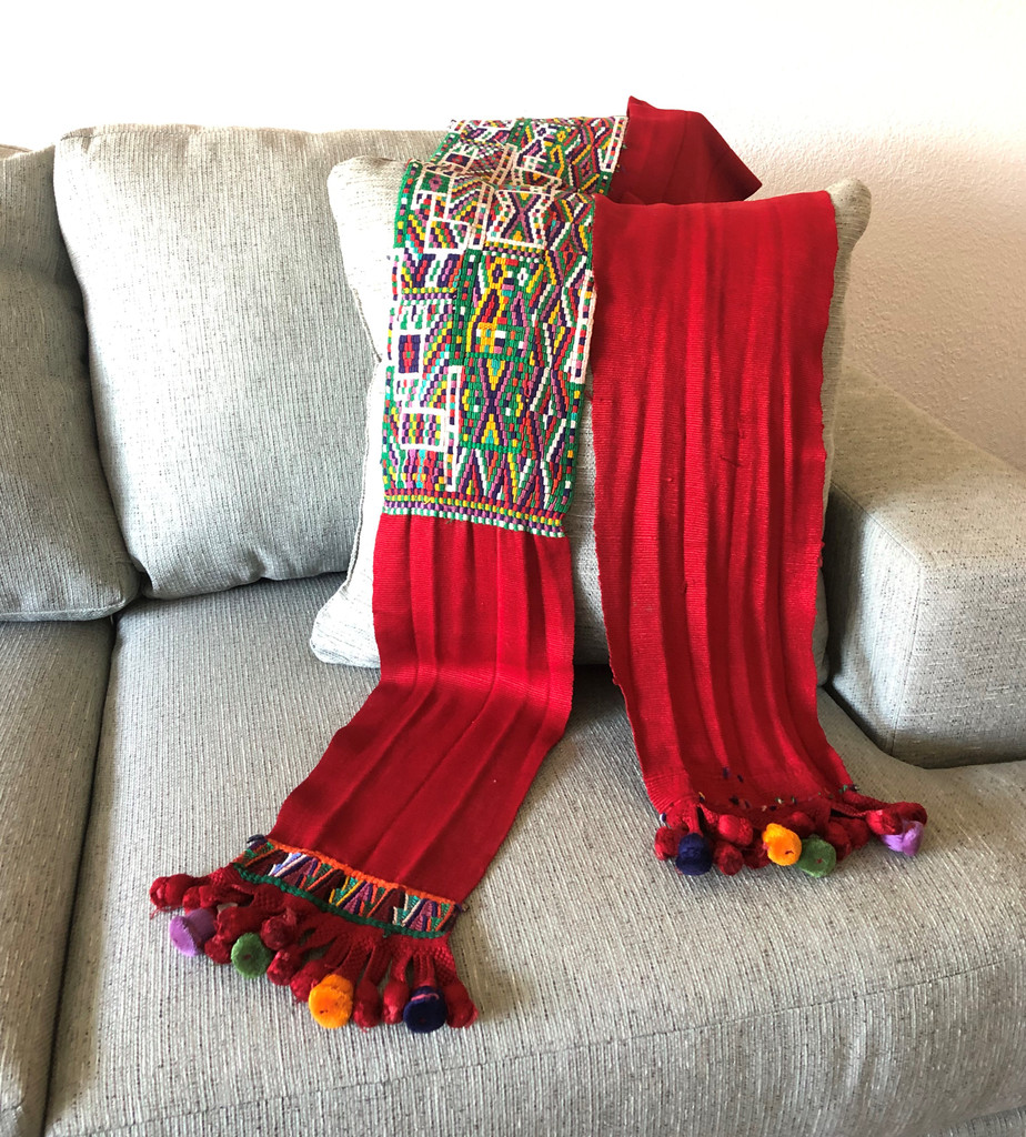 Handwoven Chajul Faja from Guatemala, Vintage Textile, Hand Embroidered with Asymmetrical Motifs, Folk Art Home Decor
