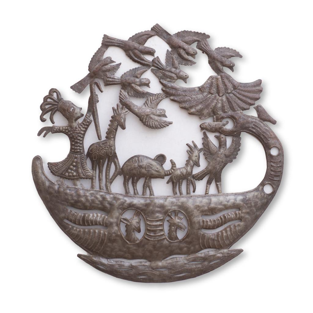 Noah's Arc, Great Flood, Bible, Biblical, Giraffe, Animals, Palm Trees, Birds, Dove, Handcrafted, Handmade