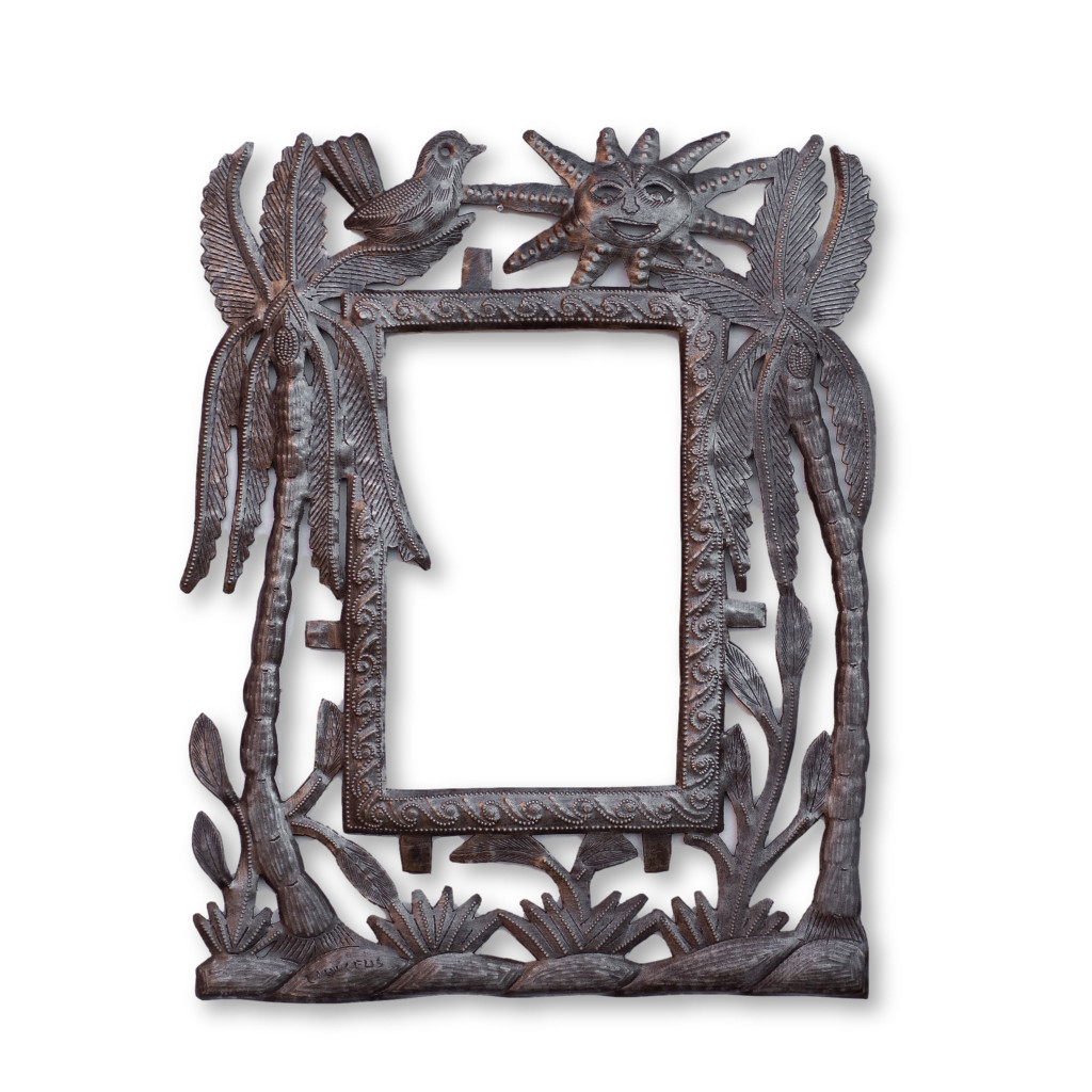 Palm Tree, Island Life, Sunny Day, Handcrafted Art, Handmade, Sustainable, Eco-Friendly, Birds, Frame, Functional Art
