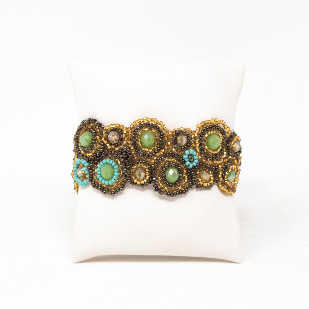"""Handmade Magnetic Bracelet, Gold, Teal, Brown and Green Tones, Women's Fashion, 1.25"""" X 7"""