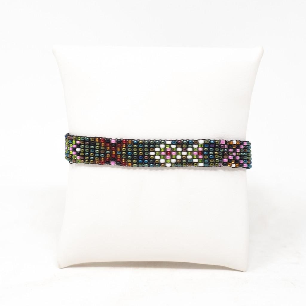 Beaded Handmade Bracelet, Multi color Green Jewelry, Friendship Bracelets String Tie Closure .5 X 5.25 Inches