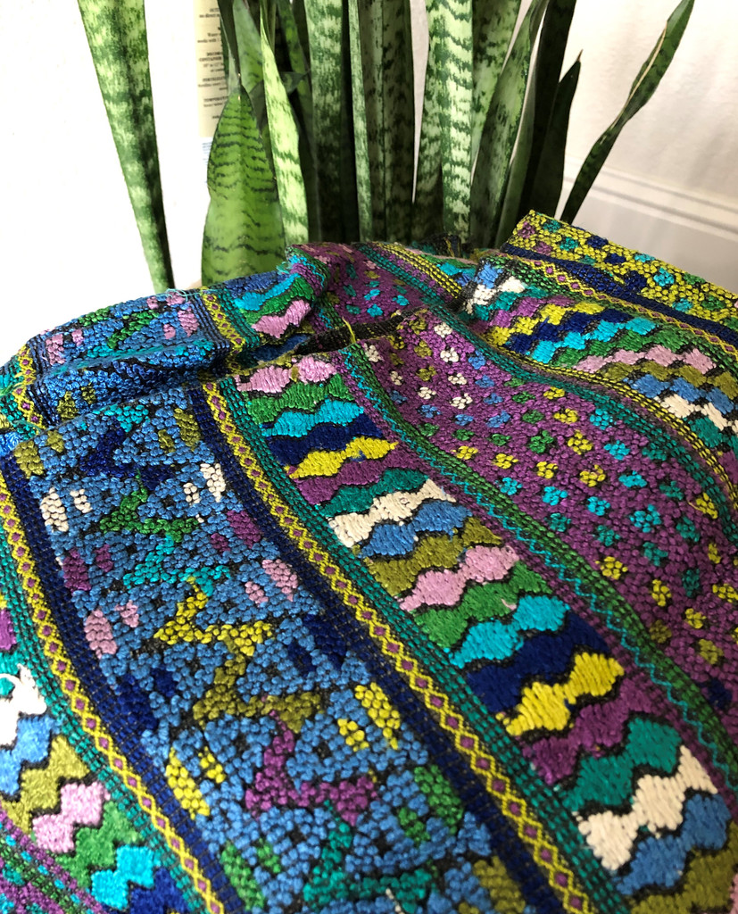 Huipil Hand Woven Blouse from Guatemala, Embroidered Flowers and Stripes, Purple and Green, Authentic, Vintage, Handmade, Collection