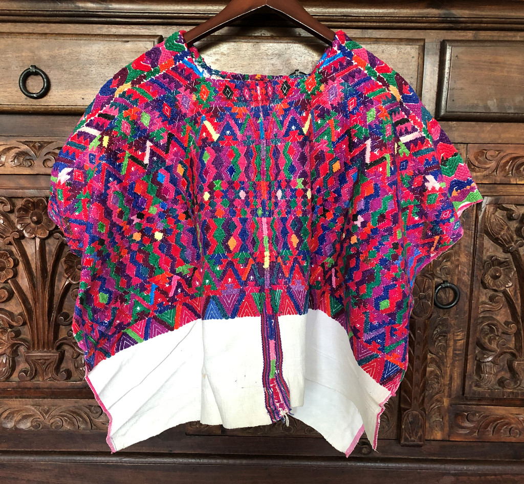 Huipil Hand Woven Blouse from Guatemala, Multi Color, Pink, Authentic, Vintage, Handmade, Collection