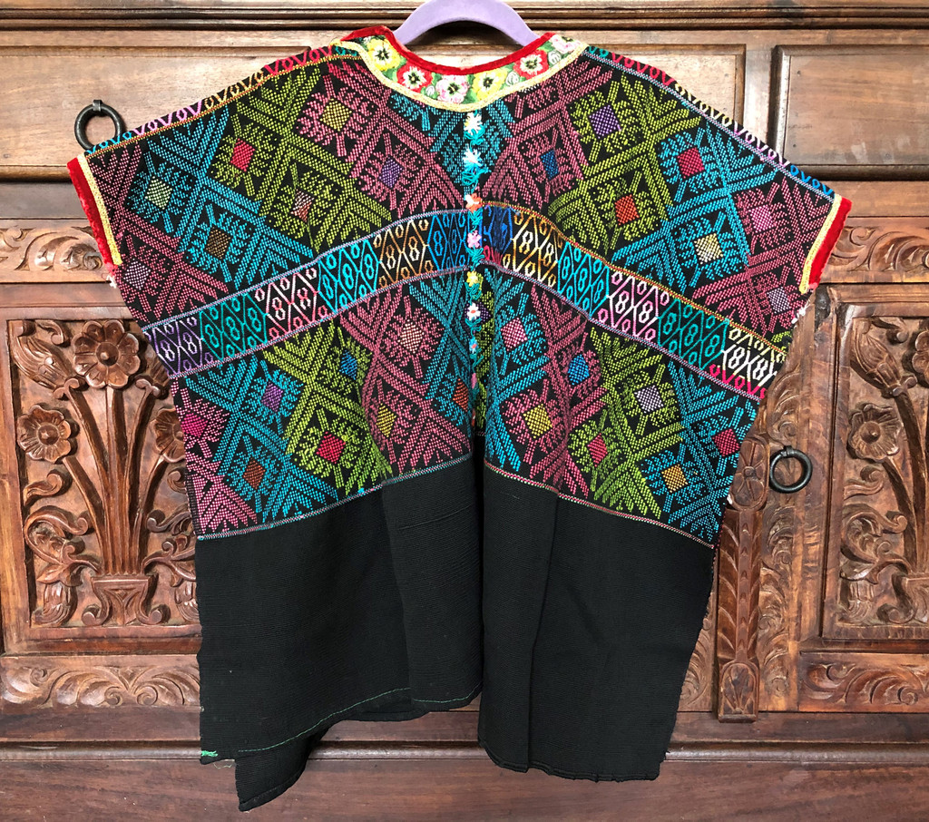 Huipil Hand Woven Blouse from Guatemala, Embroidered Flowers with Stripe Patterns Multi Color, Authentic Vintage Clothing