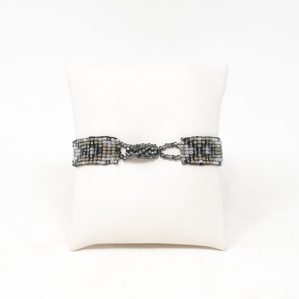 Beaded Handmade Bracelet, Grey and Silver Tones, Gift Giving Jewelry, Friendship Bracelets .75 X 8 Inches