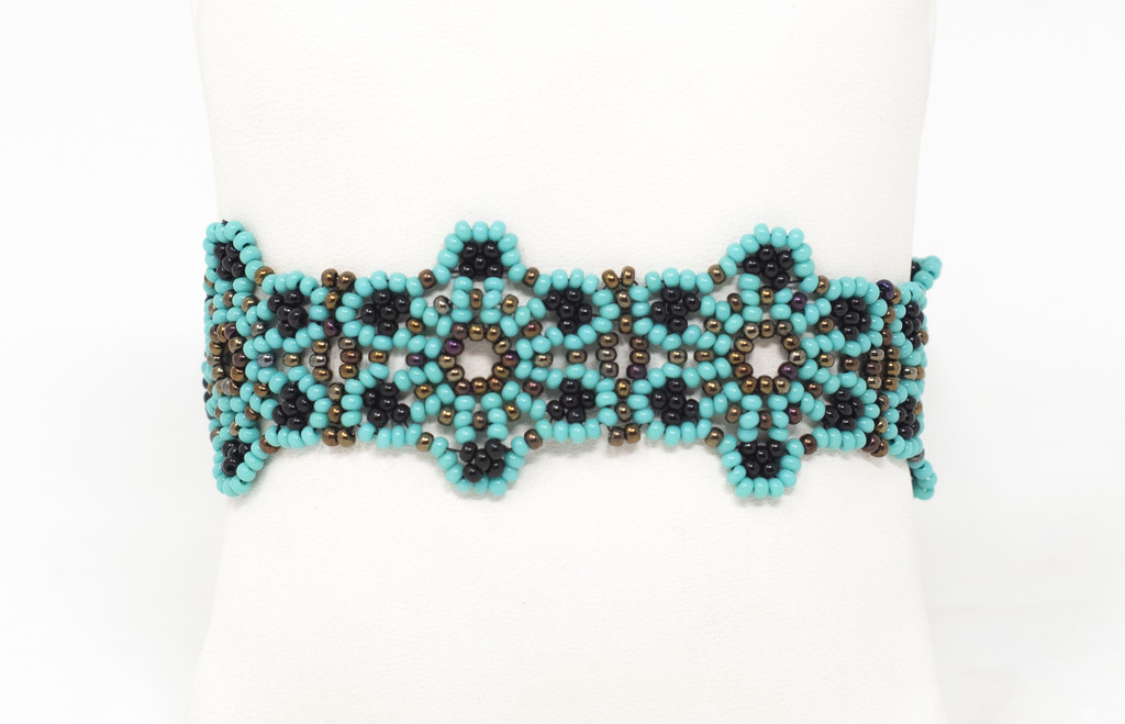 Beaded Mayan Bracelet, Flowers, Turquoise, Black, Gold , and White, Handmade, Magnetic Closure