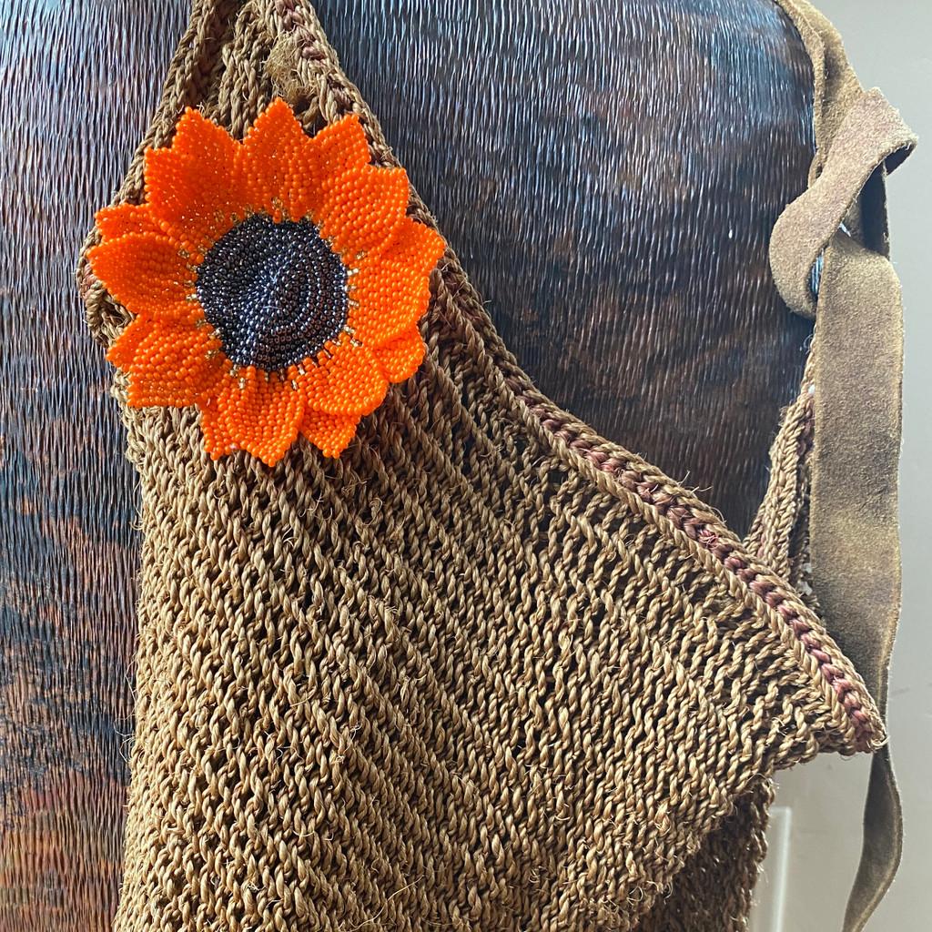 Hand made orange Sunflower pin, brooch , accessory
