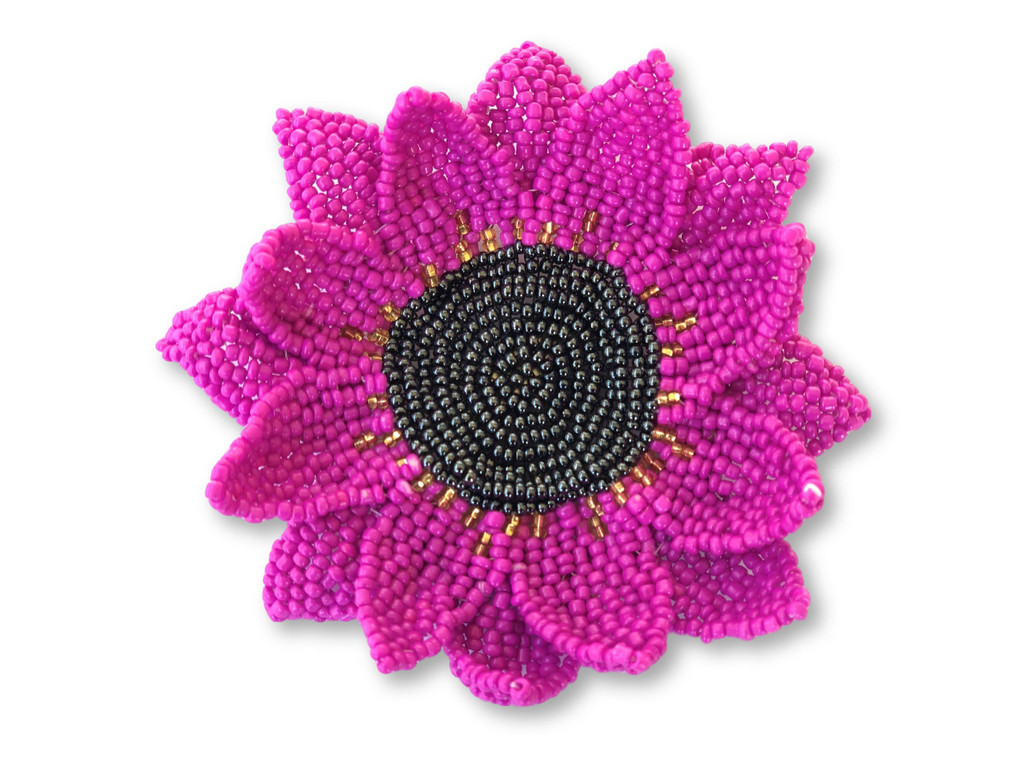Elegant Sunflower Pin, Gift for Her, Collectible Charms for Backpacks, Hats, and Clothes, Handmade Beaded Jewelry, Orange 3.75 Inches
