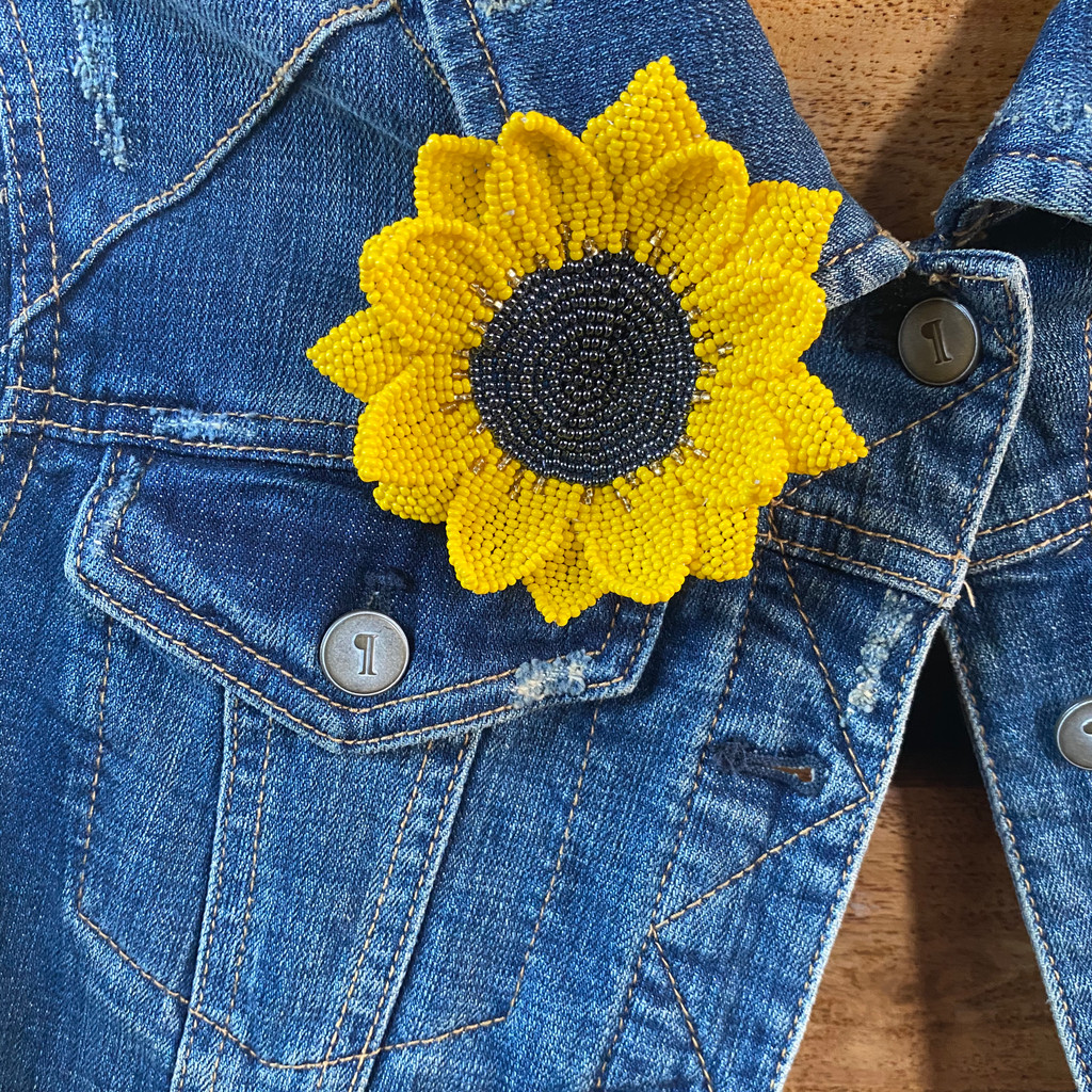 Elegant Sunflower Pin, Gift for Her, Collectible Charms for Backpacks, Hats, and Clothes, Handmade Beaded Jewelry, Yellow 3.75 Inches