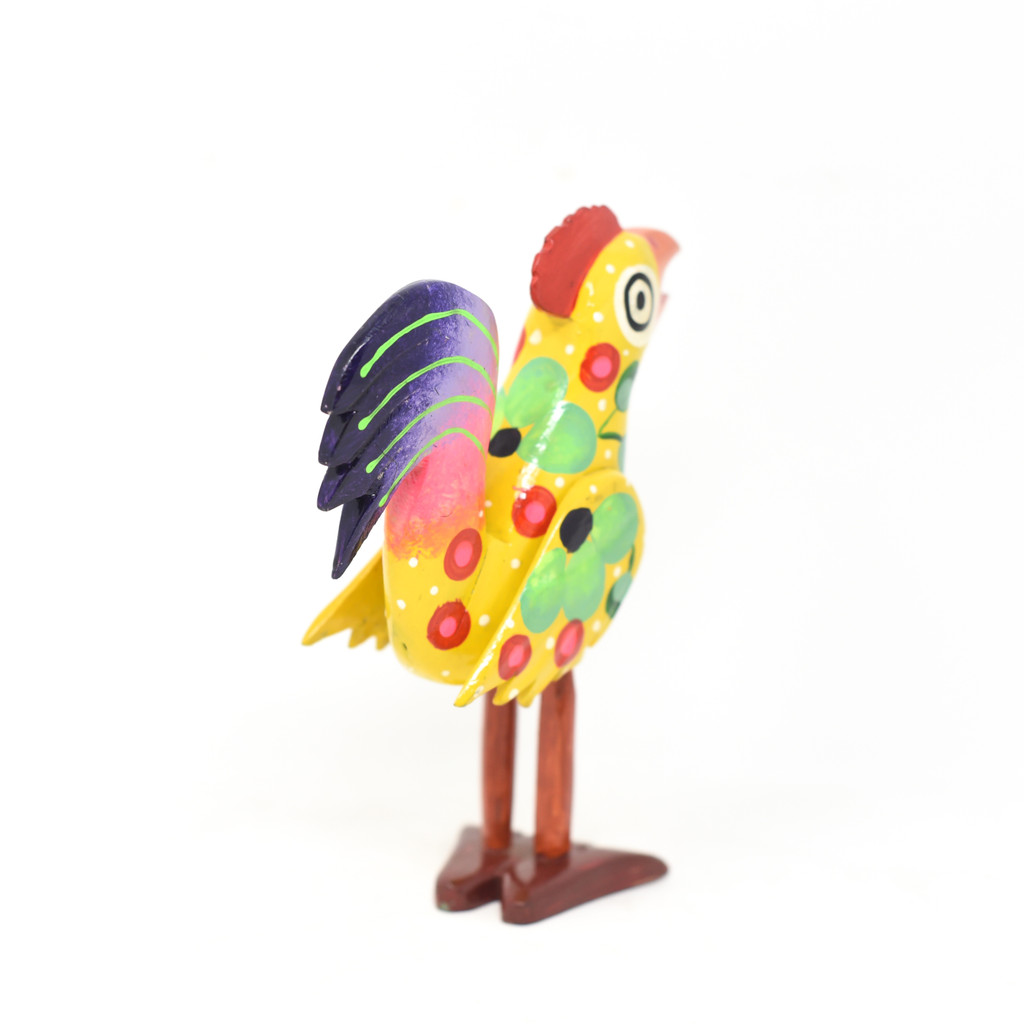Guatemala hand carved wooden rooster, bright whimsical folk art