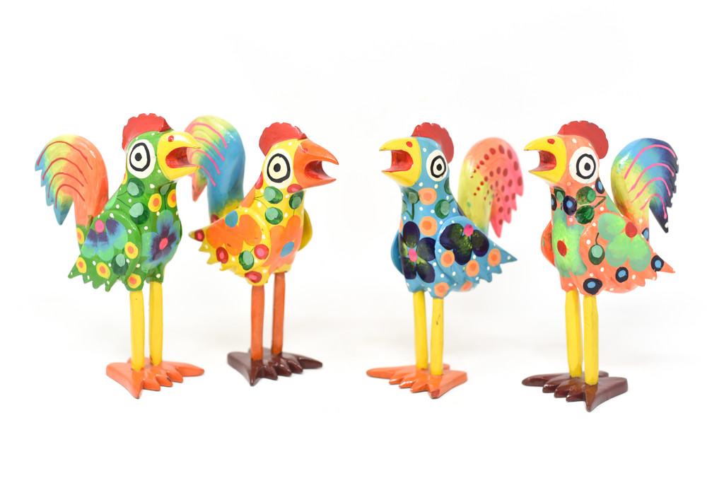 """Rooster Small Yellow Floral, Carved Wood, Wooden Art Handcrafted in Guatemala, One-of-a-Kind Art, 9"""" x 13"""" x 4.25"""""""