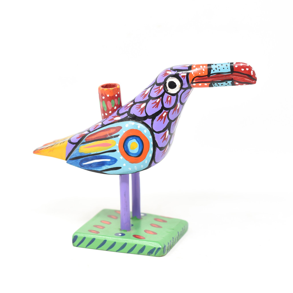 """Toucan Candle Holder, Colorful, Carved Wood, Wooden Art Handcrafted in Guatemala, One-of-a-Kind Art, 8.5"""" x 6.5"""" x 4"""""""