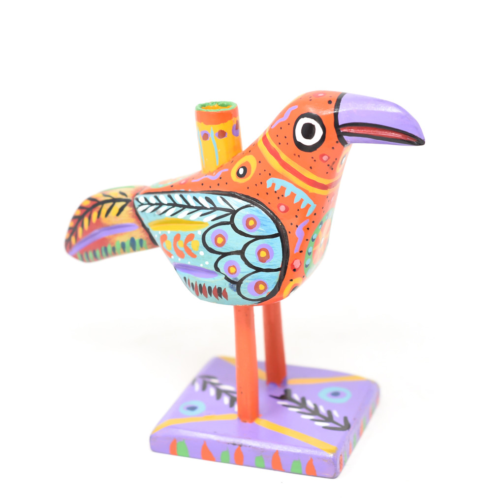 "Bird Candle Holder, Colorful, Carved Wood, Wooden Art Handcrafted in Guatemala, One-of-a-Kind Art, 8"" x 6.5"" x 3.5"""