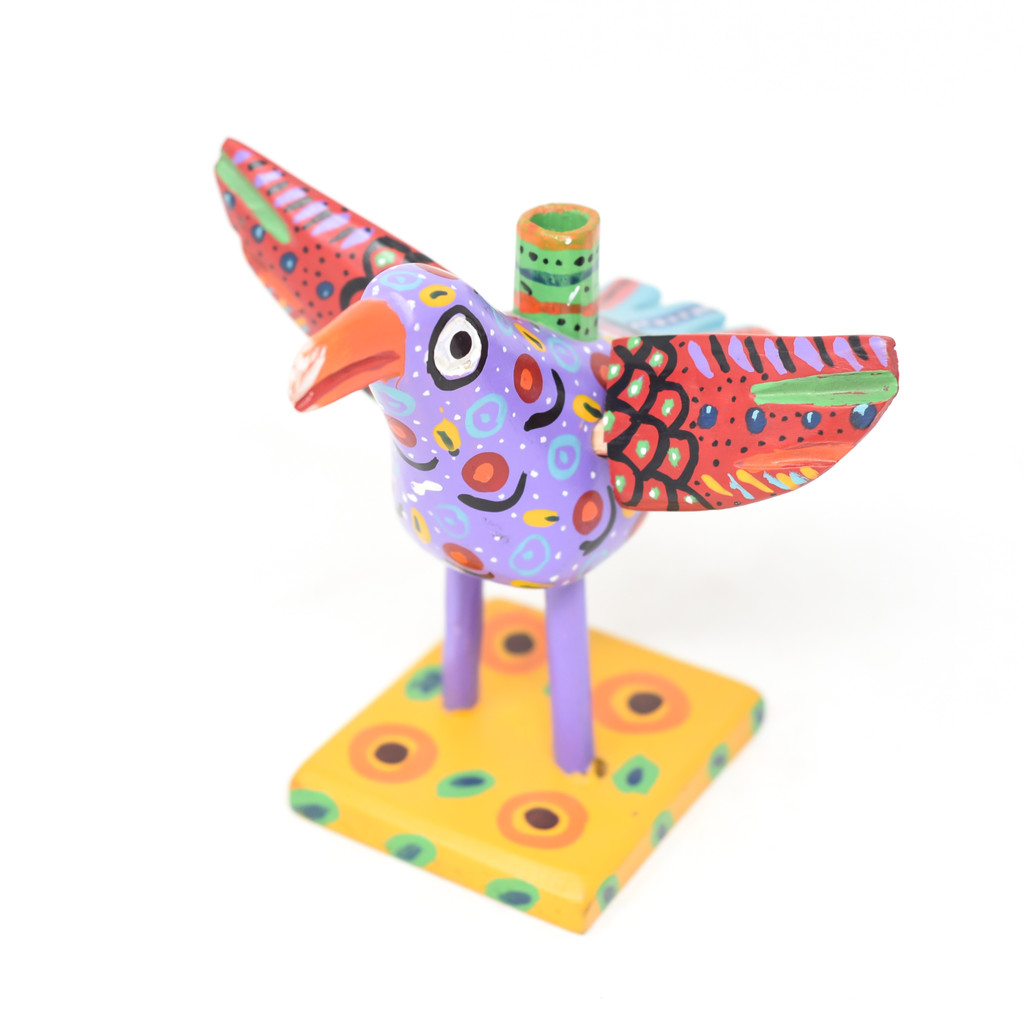 "Bird Candle Holder, Colorful, Carved Wood, Wooden Art Handcrafted in Guatemala, One-of-a-Kind Art, 7"" x 7"" x 6.5"""