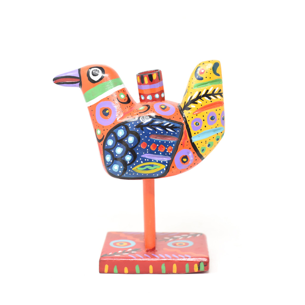 """Bird Candle Holder, Colorful, Carved Wood, Wooden Art Handcrafted in Guatemala, One-of-a-Kind Art, 5.5"""" x 6.5"""" x 3.5"""""""