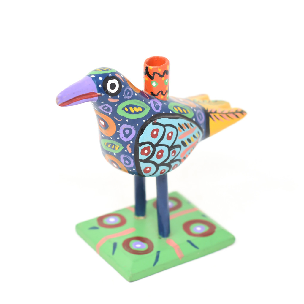 "Bird Candle Holder, Colorful, Carved Wood, Wooden Art Handcrafted in Guatemala, One-of-a-Kind Art, 7.5"" x 6.5"" x 4"""