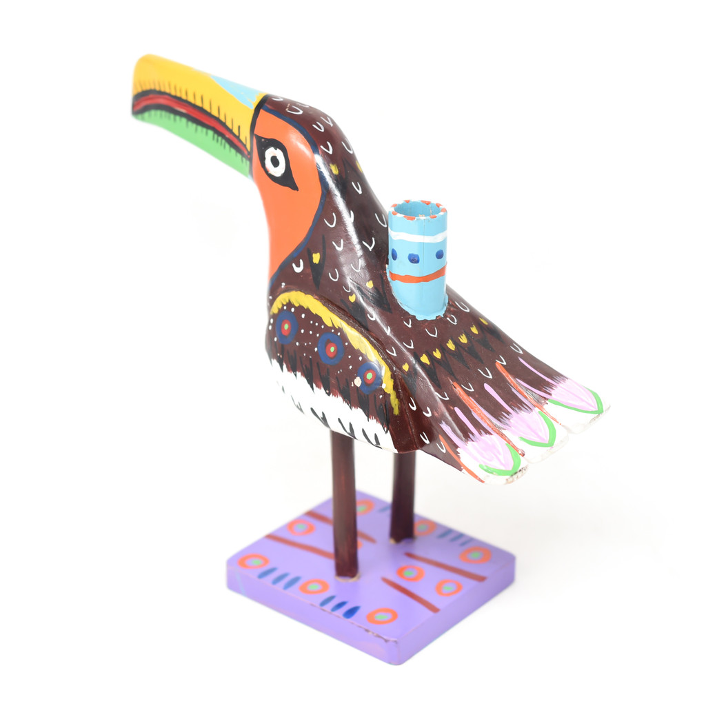 """Toucan Candle Holder, Colorful, Carved Wood, Wooden Art Handcrafted in Guatemala, One-of-a-Kind Art, 12"""" x 9.5"""" x 4"""""""