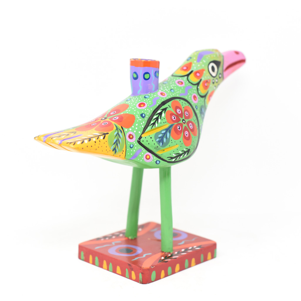 """Bird Candle Holder, Green Colorful, Carved Wood, Wooden Art Handcrafted in Guatemala, One-of-a-Kind Art, 12"""" x 9.5"""" x 4"""""""