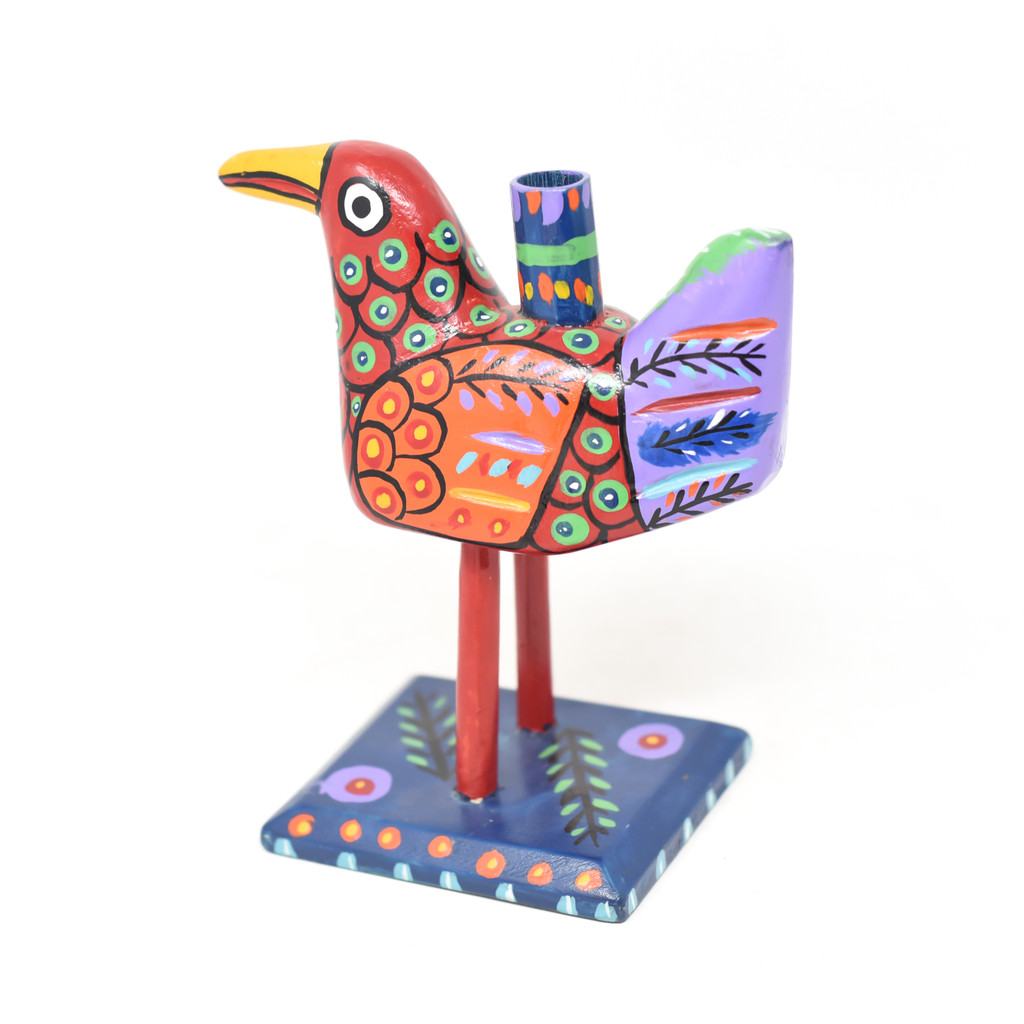 """Bird Candle Holder, Colorful, Carved Wood, Wooden Art Handcrafted in Guatemala, One-of-a-Kind Art, 8"""" x 10"""" x 4"""""""