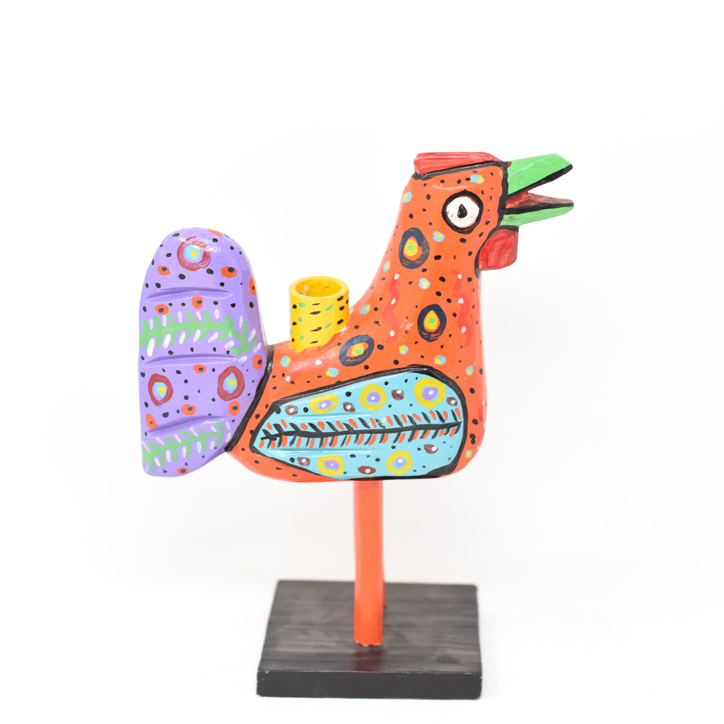 """Rooster Candle Holder, Green Tail,  Colorful, Carved Wood, Wooden Art Handcrafted in Guatemala, One-of-a-Kind Art, 8"""" x 10"""" x 4"""""""