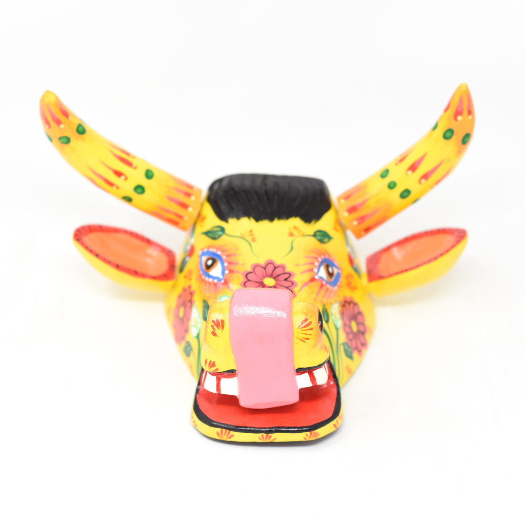 "Bull Mask Yellow Floral, Hand Carved in Guatemala, By Artist Rodrigo Canil  10"" x 5"" x 6"""