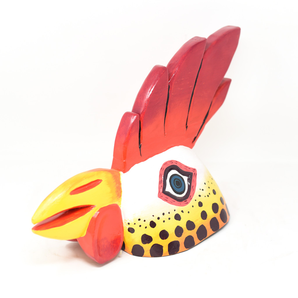 "Gallo Beer Rooster Mask 3, Hand Carved in Guatemala, By Artist Rodrigo Canil  16"" x 9.5"" x 7"""