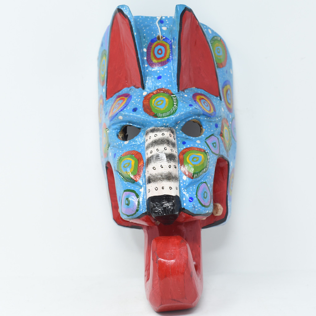 """Traditional Mask used in Dance Festival, Jaguar Mask Hand Carved in Guatemala  10"""" x 6.5"""" x 5.5"""""""