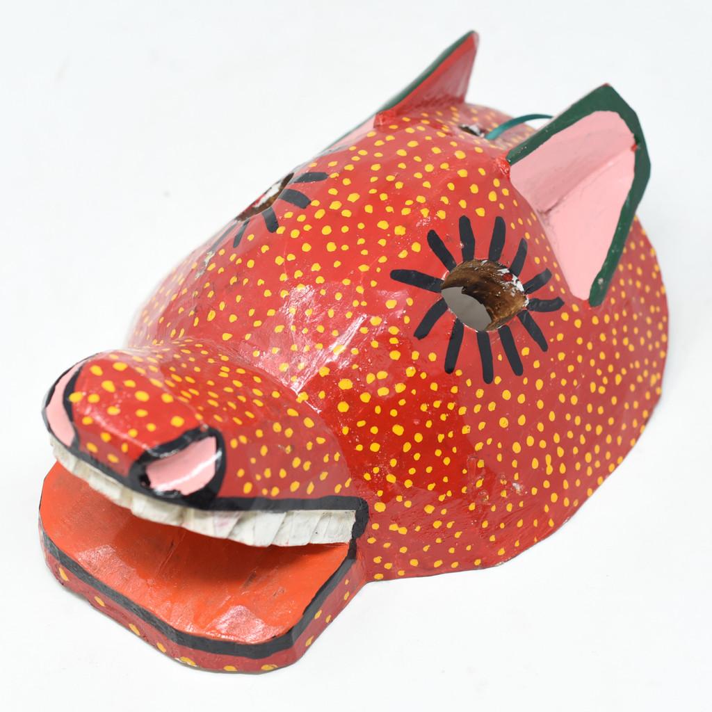 "Dog, Dance Mask, Hand Carved Wood Guatemala 9.5"" x 7"" x 4"""