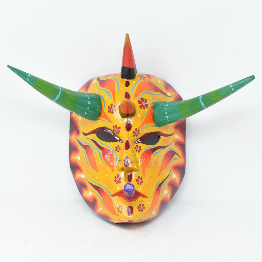 "Diablo, Devil,  Colorful Whimsical Dance Mask, Hand Carved Wood Guatemala 10"" x 7.5"" x 8"""