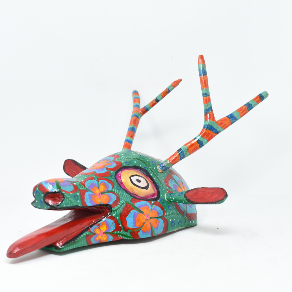 "Deer, Green Colorful Whimsical Dance Mask, Hand Carved Wood Guatemala 19"" x 10"" x 13"""