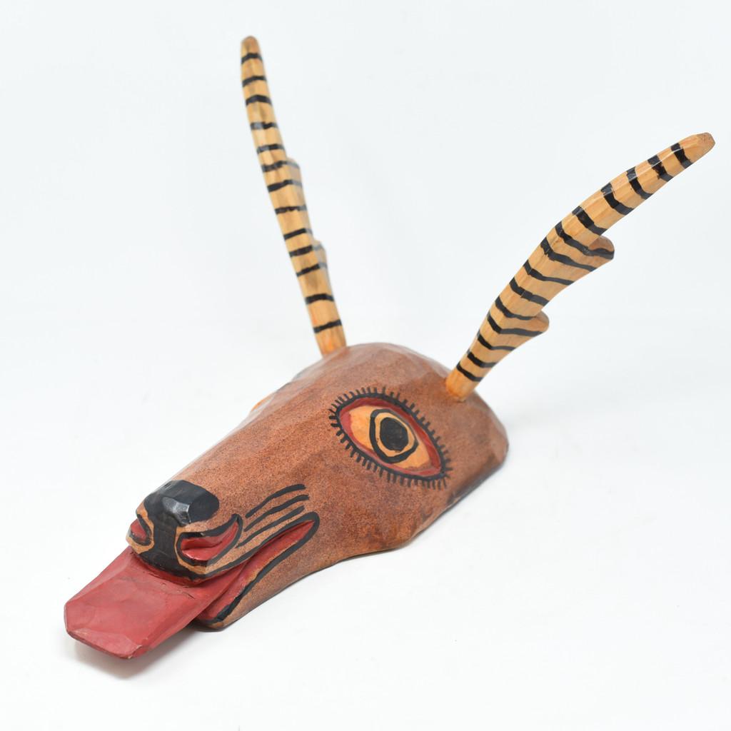 """Deer, Earth tone,  Whimsical Dance Mask, Hand Carved Wood Guatemala 15"""" x 10"""" x 13"""""""