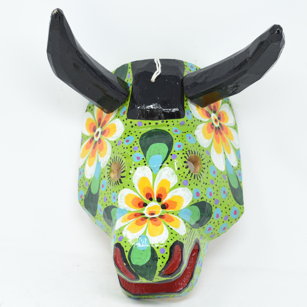 "Green Colorful Bull Mask, Whimsical Dance Mask, Hand Carved Wood Guatemala 10"" x 9"" x 7.5"""