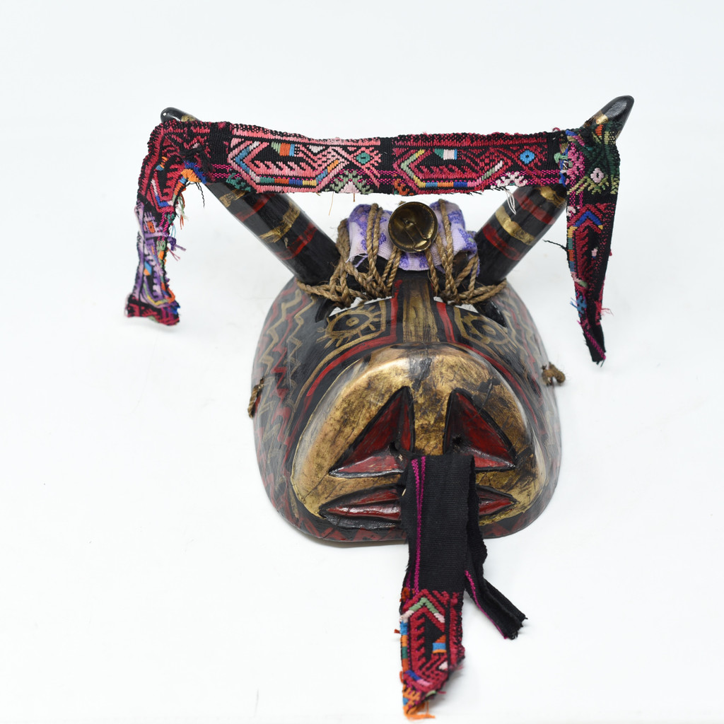 "Bull Mask with Bell, Whimsical Dance Mask, Hand Carved Wood Guatemala 10"" x 8"" x 7"""