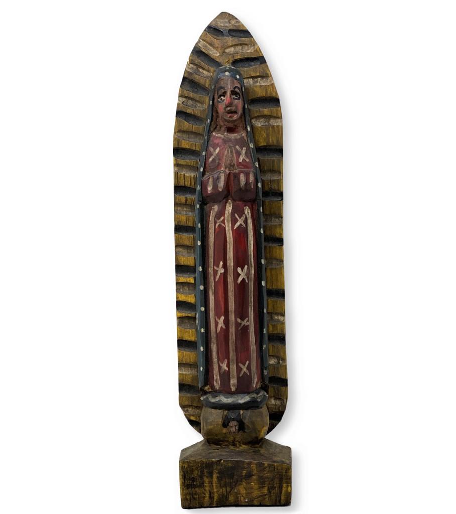"Hand Carved Saint Mary, Virgin de Guadalupe, Folk Art 15"" x 3.5"" x 2"""