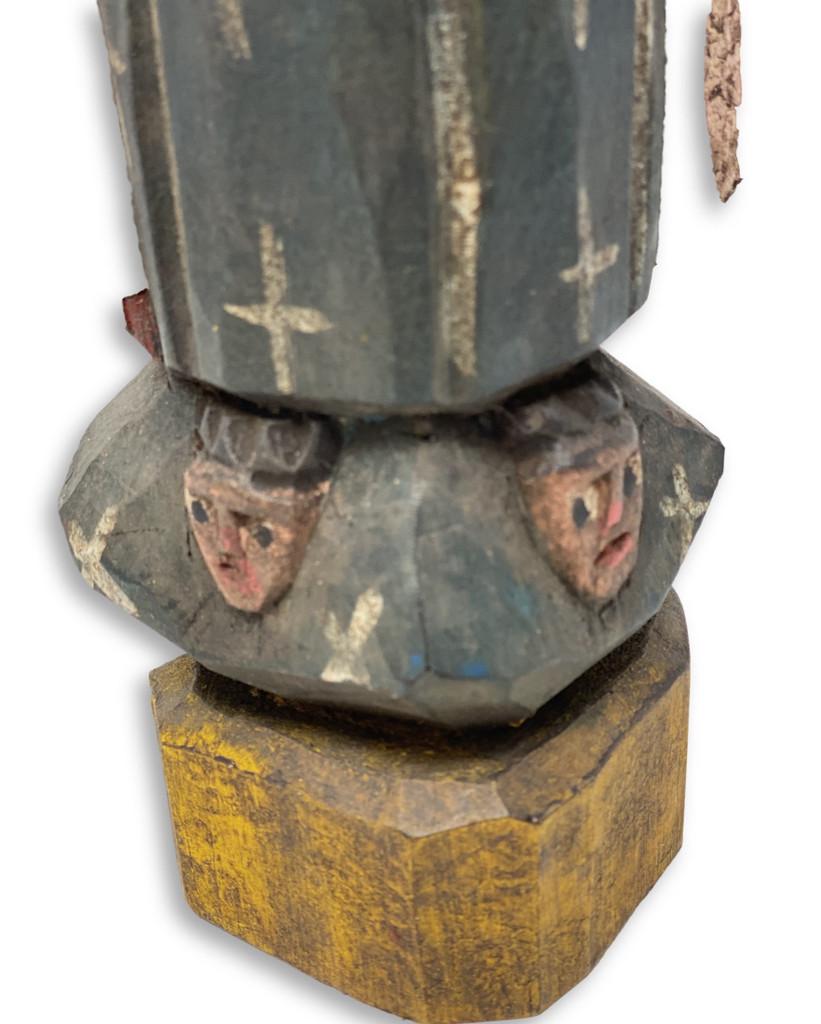 "Hand Carved Saint Mary, Virgin de Guadalupe, Folk Art 12.25"" x 4"" x 2"""