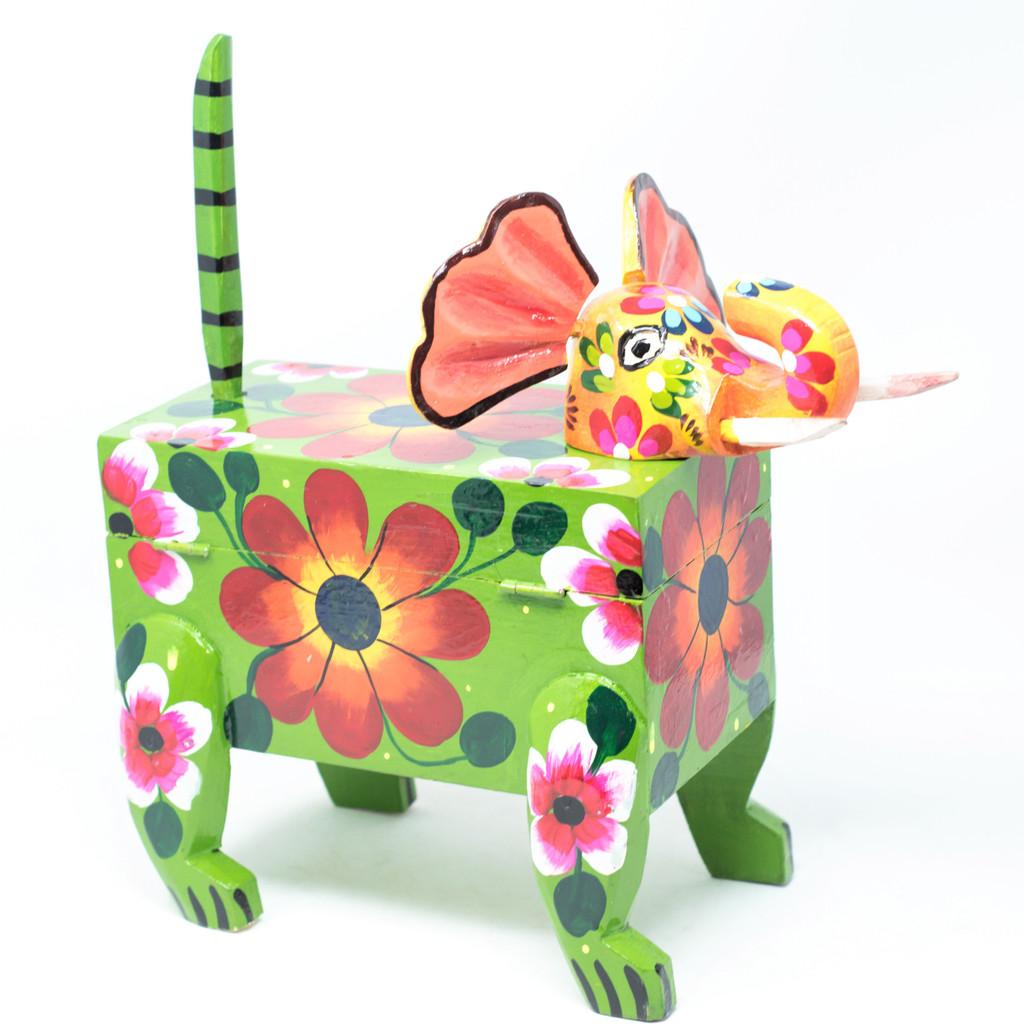"Hand Carved, Guatemalan Whimsical Animal Elephant Box, 13"" x 6.5"" x 14.5"""