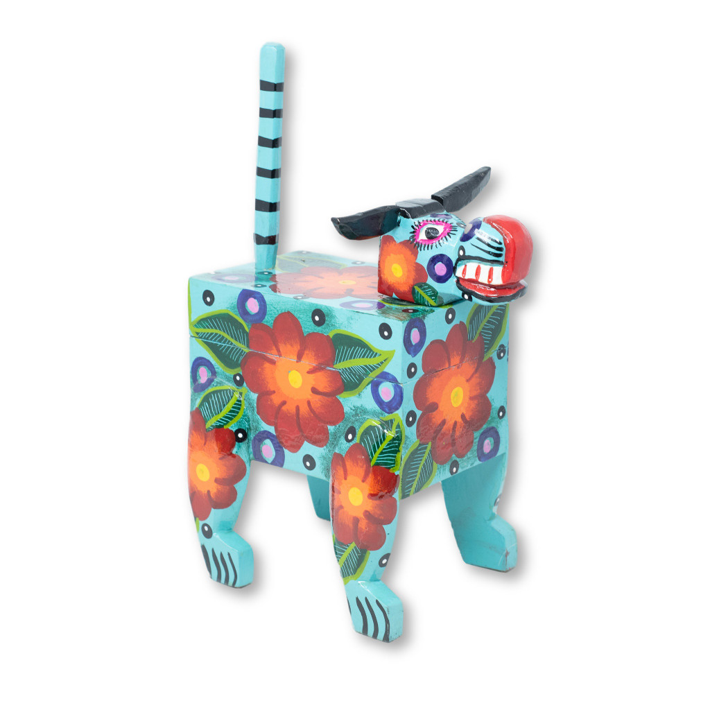 "Hand Carved, Guatemalan Whimsical Animal Blue Bull Box, 9"" x 6"" x 14"""