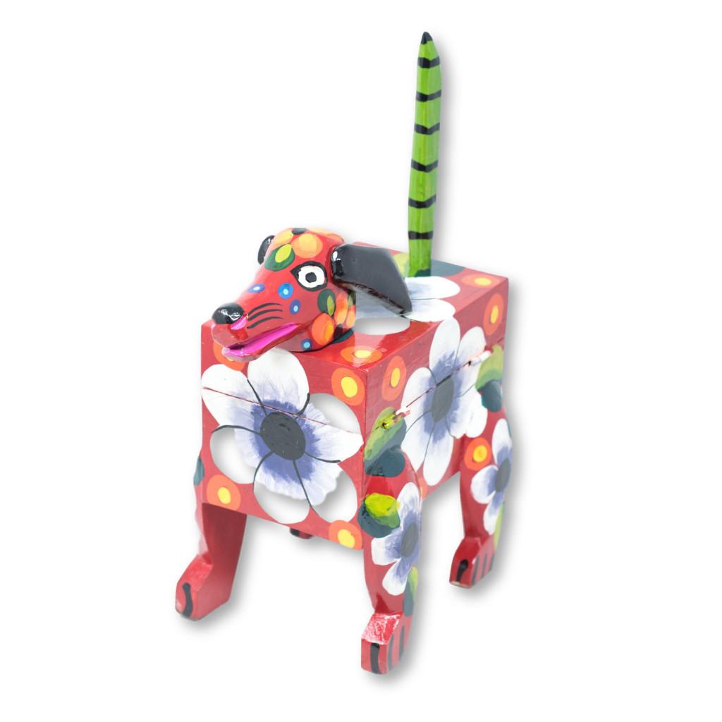 "Hand Carved, Guatemalan Whimsical Animal Red Dog Box, 10"" x 4"" x 16"""