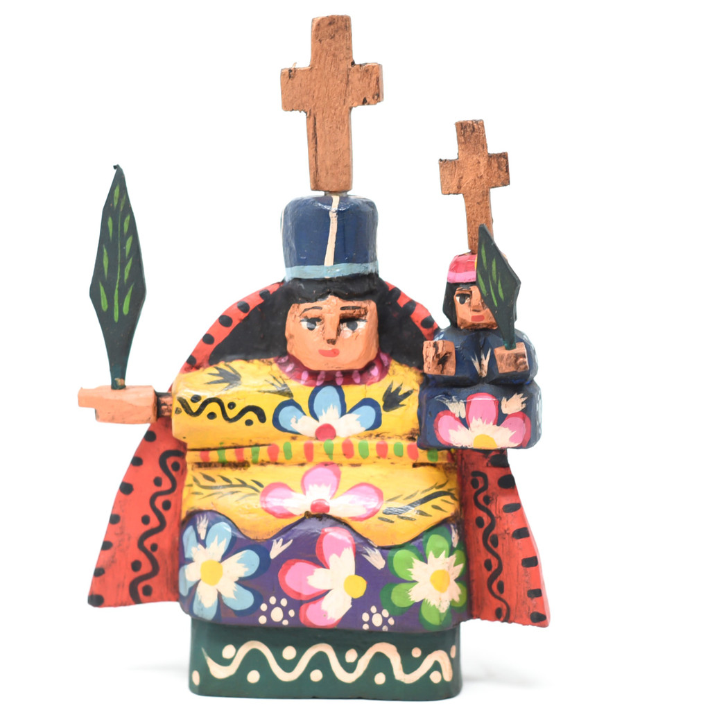 Mayan Arts Our Lady of Candelaria, Decorative Small Wooden Virgin, Virgen, Religious Gift Icons, Statues, Protector of Children, Handmade in Guatemala 5 X 6.5 X 1.25 Inches (Blue Multi Color)