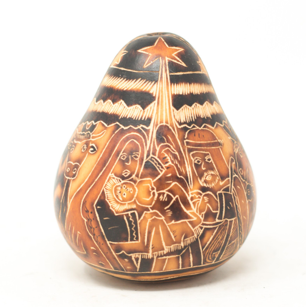 """Hand Carved Gourd Nativity and LLamas Scene 4.5"""" x 4"""""""